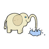 grappige beeldverhaalolifant die water spuiten Royalty-vrije Stock Afbeeldingen