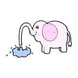 grappige beeldverhaalolifant die water spuiten Stock Afbeeldingen