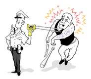 Grappige Beeldverhaalpolitieagent die Taser gebruiken Stock Foto