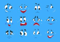 Grappige beeldverhaaluitdrukkingen Het kwade boze van de de schetsenpret van het gezichten gekke karakter lachebekje van de de gl royalty-vrije illustratie
