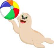 Grappige beeldverhaalverbinding die een kleurrijke bal spelen Royalty-vrije Stock Foto
