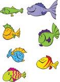 7 grappige beeldverhaalvissen Stock Foto
