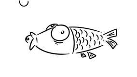 Grappige beeldverhaalvissen Hand getrokken beeldverhaalanimatie stock footage