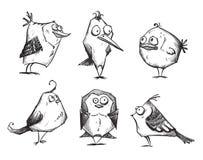Grappige beeldverhaalvogels, getrokken hand royalty-vrije illustratie