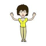grappige beeldverhaalvrouw die uit beklemtonen Royalty-vrije Stock Foto