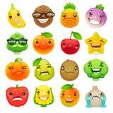 Grappige Beeldverhaalvruchten en Groenten met Verschillende Emoties Set2 Royalty-vrije Stock Foto