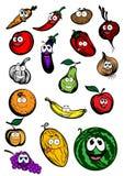 Grappige beeldverhaalvruchten en groentenkarakters Stock Afbeelding