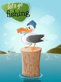 Grappige beeldverhaalzeemeeuw met vissen en hoed Stock Foto's