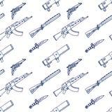 Grappige beeldverhalenwapens Naadloze schets Stock Foto's