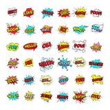 Grappige Bellen De ballons van de beeldverhaaltekst Pow en zap, ineenstorting en boomuitdrukkingen Vector het pop-artstickers van vector illustratie