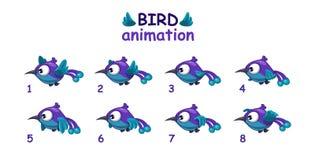 Grappige blauwe beeldverhaalvogel die sprites vliegen Royalty-vrije Stock Afbeeldingen