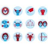 Grappige blauwe het pictogram vastgestelde astrologisch van het dierenriemteken, illustratie Royalty-vrije Stock Fotografie