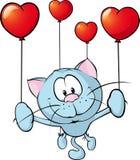 Grappige blauwe kat die met ballon vliegen - vector Stock Afbeeldingen