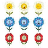 Grappige bloemen met verschillende emoties 015 Stock Fotografie