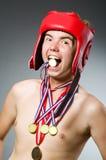 Grappige bokser met het winnen Stock Afbeelding