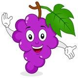 Grappige Bos van Druiven die Karakter glimlachen Stock Afbeeldingen