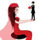 Grappige bruid en bruidegom Royalty-vrije Stock Afbeeldingen