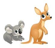 Grappige buideldieren, koala en kangoeroe Royalty-vrije Stock Foto's
