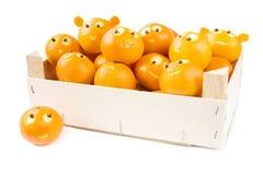 Grappige clementines in doos Royalty-vrije Stock Afbeeldingen