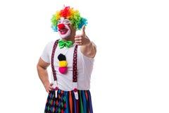 Grappige clown acteren dwaas geïsoleerd op witte achtergrond stock afbeeldingen