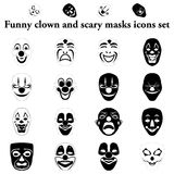 Grappige clown en enge geplaatste maskers eenvoudige pictogrammen Royalty-vrije Stock Foto's