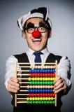 Grappige clown met telraam Stock Fotografie
