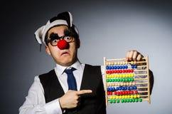 Grappige clown met telraam Royalty-vrije Stock Foto's