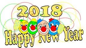 Grappige clowns op een gelukkige nieuwe jaarkaart Stock Foto