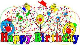 Grappige clowns op gelukkige verjaardagskaart Royalty-vrije Stock Afbeelding