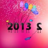 Grappige de groetkaart van de Oudejaarsavond van 2013. + EPS8 Royalty-vrije Stock Foto's