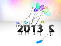 Grappige de groetkaart van de Oudejaarsavond van 2013. + EPS8 Royalty-vrije Stock Afbeelding