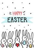 Grappige de Groetkaart van konijntjespasen met witte Pasen-konijnen Illustratie van leuke konijntjes met paaseieren en harten en royalty-vrije illustratie