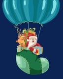 Grappige de hete luchtballon van Kleurenkerstmis Stock Fotografie