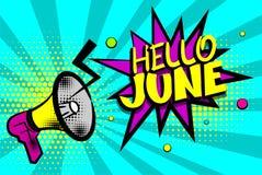 Grappige de tekstpop-art gekleurde bel van Hello juni royalty-vrije illustratie