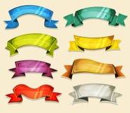 Grappige die Banners en Linten voor Ui-Spel worden geplaatst vector illustratie