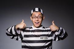 Grappige die gevangene op grijs wordt geïsoleerd royalty-vrije stock foto's