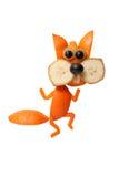Grappige die het dansen eekhoorn van sinaasappel wordt gemaakt Royalty-vrije Stock Foto