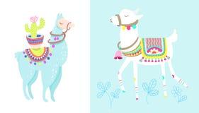Grappige die lama met cactus op wit, blauw alpacadier wordt geïsoleerd stock illustratie