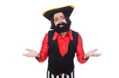 Grappige die piraat op het wit wordt geïsoleerd Stock Foto