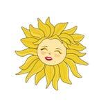 Grappige die zon op witte achtergrond wordt geïsoleerd Royalty-vrije Stock Foto
