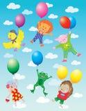 Grappige dieren die op ballons in wolken vliegen Royalty-vrije Stock Afbeeldingen