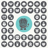 Grappige Dierlijke geplaatste pictogrammen Royalty-vrije Stock Afbeelding