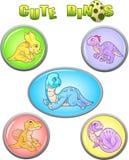 Grappige dinosaurussen, reeks leuke pictogrammen Royalty-vrije Stock Afbeelding