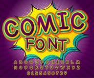 Grappige Doopvont Alfabet in stijl van strippagina, pop-art Stock Foto