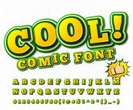Grappige Doopvont Alfabet in stijl van strippagina, pop-art Royalty-vrije Stock Foto