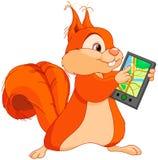 Grappige eekhoorn met navigator Stock Afbeeldingen