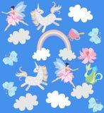 Grappige eenhoorns, gevleugelde feeën, theepot met bloemen, kop thee, regenboog, wolken en vlinders op hemel blauwe achtergrond i vector illustratie