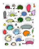 Grappige egelinzameling, schets voor uw ontwerp Stock Fotografie