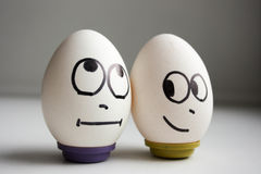 Grappige grappige eieren twee eieren het gezonde eten Stock Fotografie