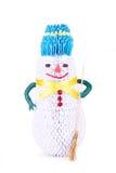 Grappige eigengemaakte sneeuwman Stock Fotografie